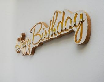 Happy Birthday Sign Plaque Gold and White 90s Vintage