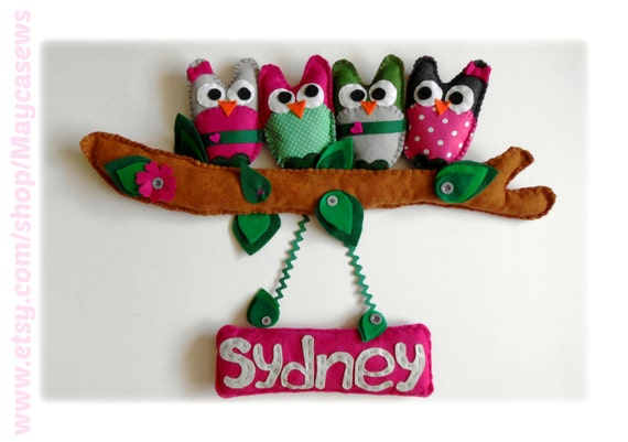 Owl Friends with Name Sign. Wall hanging for a nursery. Personalized. 3D Wall Decor. For Nursery or Kids' Room. Made to order item.
