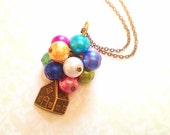 Disney UP Inspired Necklace. Colorful Balloons. Vintage Style. Brass Chain. Miniature House. Small House. Pixar. Cute. Whimsical. Movies. - MintMarbles