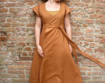 MADE TO ORDER:costum colours linen pagan dress, empire waist. Long robe gown wrap dress historical priestess fairy hippie bohemian