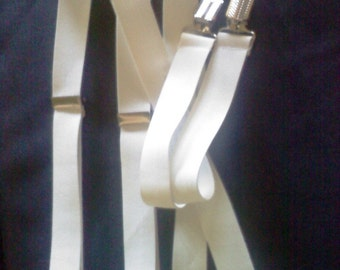 WHITE/ Off White suspenders for little boys,  adjustable suspenders