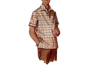 1950s Men's Casual Dress Shirt Simplicity 1432 Sewing Pattern Retro Pullover Top Wide Collar Polo Golf Shirt Uncut Size Small