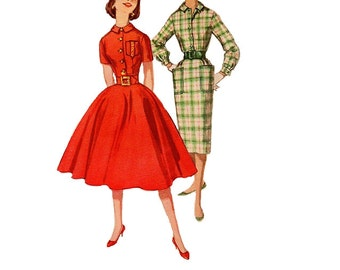 Simplicity 2612 Sewing Pattern Vintage 1950s School Girls Rockabilly Style Slim or Full Circle Skirt Dress Button Bodice Monogram Bust 32