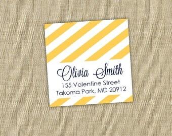 Square return address labels, self-adhesive. stripe return address label. Set of 72