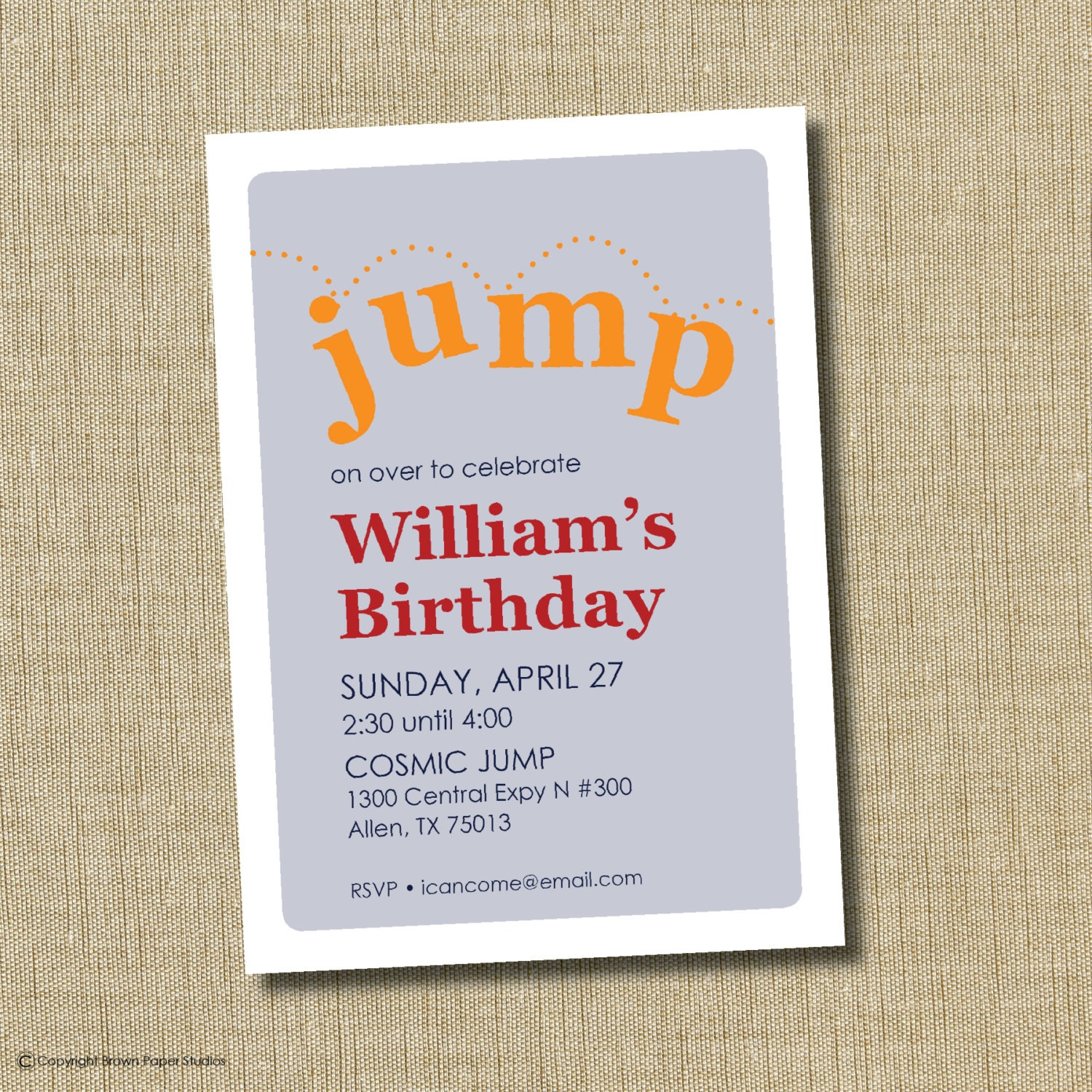 Trampoline Party Invitations: Trampoline Birthday Invitation. Bounce House Invitaiton
