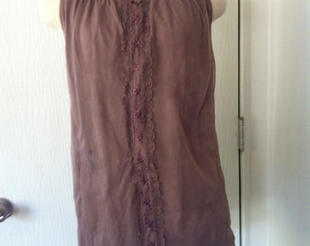 Sheer Lavendar Nightie or Tank with lace and floral detailing