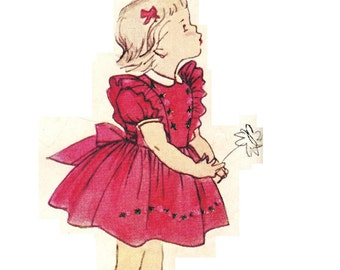 Simplicity 3726 Vintage 50s Adorable Toddler Girls One Piece Pinafore and Dress Sewing Pattern Size 1