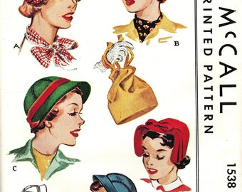 McCall 1538 Super Nice Vintage 50s Hats and Drawstring Purse Sewing Pattern - Mostly Uncut - One Size Adjustable 22 inches