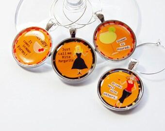 Funny Wine Charms, Wine Charms, Wine Glass Charms, silver plate, barware, entertaining, table setting, orange, humor (2711)