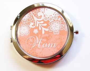 Custom compact mirror, personalized, pocket mirror, compact mirror, bridesmaids gift, wedding party gift, peach, lace (2775)