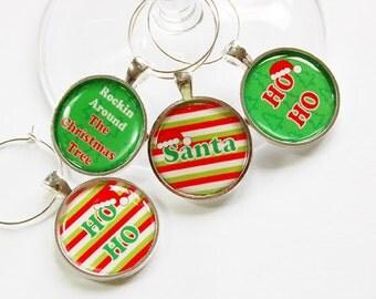 Wine Glass Charms, Christmas Wine Charm, Wine Charms, table setting, entertaining, Ho Ho Ho, Christmas party, stocking stuffer (2873)