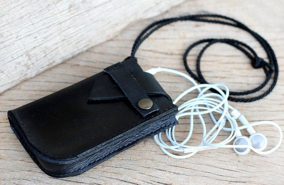 Anchor black leather iPhone case with neck rope