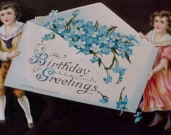 Lovely 1911 Edwardian Birthday Postcard with Black Background-Children with For-Get-Me-Nots