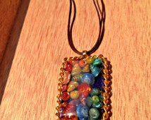 Rainbow Necklace with Shells, Resin and Gold Chain,  Beach Jewelry, Rainbow Colors, Summer Jewelry, Gifts for a Friend