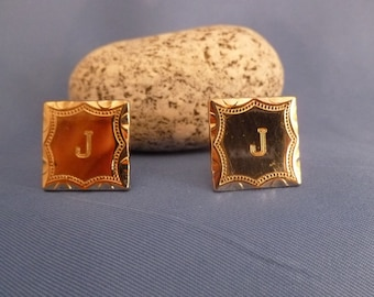 The letter J Gold Tone Cuff Links
