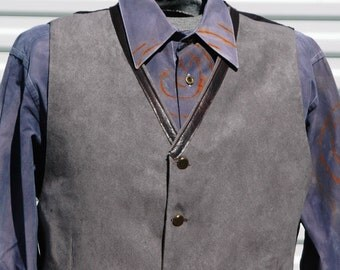 L Mens Steampunk Grey Vest