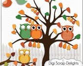 Autumn Owls Clip Art, Fall, Thanksgiving Scrapbooking, Autumn  Colors Brown, Gold, Oranges, Instant Download