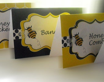 Bumble Bee Theme Menu Cards - Place Cards - Buffet Cards-Party & Shower Decorations-Blank-INSTANT DOWNLOAD