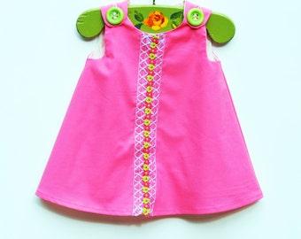 Sweet Pink Dress - Girls Aline Dress - Summer Dress - Birthday - Handmade Boutique -  KK Children Designs - One of A Kind Design - 3M to 4T