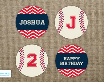 Baseball Birthday - Baseball Printable - Sports Birthay - Sports Printable - Baseball Cupcake Toppers - Boy Birthday - Chevron printable