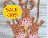 Monkey Bookmark - Amigurumi Crochet Pattern PDF file  (Instant download)  by Zabelina