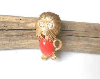 Rare Kramer Brooch, Figural Dog Pin, Llaso Apso, Shi Tzu Puppy, Vintage Brooch