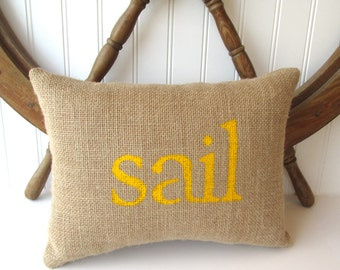 sail pillow, nautical nursery decor, yellow pillow, sail, beach decor, decorative burlap accent pillow, sailing decor by whimsysweetwhimsy