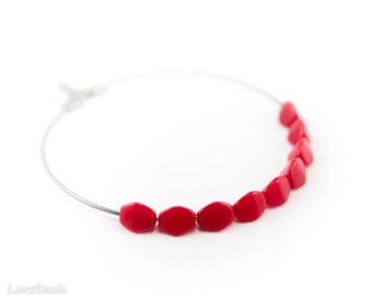 Coral Red Triangle Beads 5mm (100) Czech Small Glass Spacers Opaque