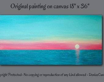 Large wall art, Canvas painting, Sunset, Teal home decor, Turquoise, Coral and teal, Seascape, Master bedroom, Living room, Office, Artwork