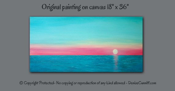 Large wall art Canvas painting Sunset Teal home decor