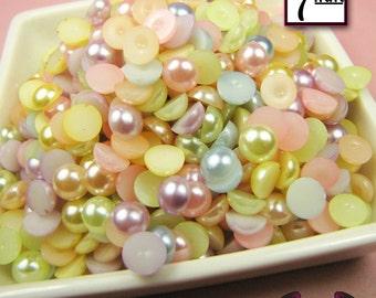 100 pc 7 mm Light Pastel Mix HALF PEARL Flatbacks Decoden Embellishments