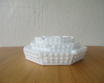 Fenton Ashtray Set - Hobnail Milk Glass, Octagonal Nesting Set of 3, Original Vintage Labels