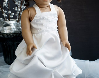 "Fits Like American Girl Doll Clothes 18"" Doll Clothes Flower Girl or Wedding Satin Dress with Beaded Halter Top and Pickup Skirt White Ivory"