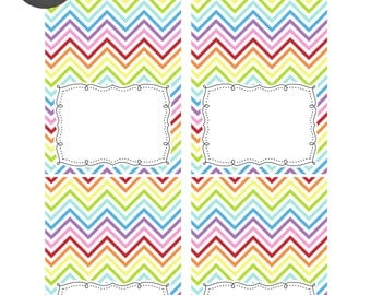 INSTANT DOWNLOAD -- Rainbow Chevron Printable Tent Cards