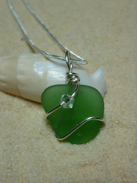 Wire wrapped green sea glass necklace with Swarovski crystal bead and sterling silver chain