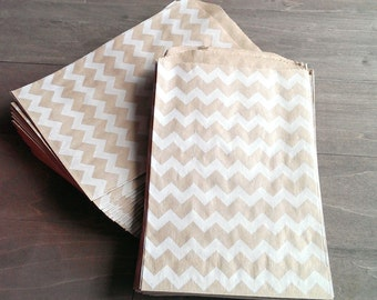 "20 Chevron kraft bags - 5 x 7.5"" inches - brown kraft bags - white chevron pattern - Middy bitty bags"