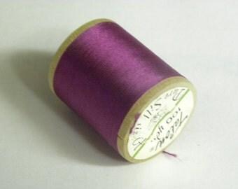 Vintage Talon  Pure Silk Hand Sewing Embroidery Thread 100 Yd. Wooden spool Shade 445 Magenta