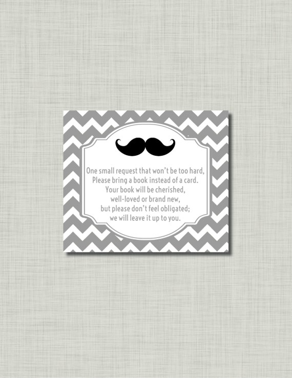 Mustache in lieu of a card baby shower gray grey printable pdf