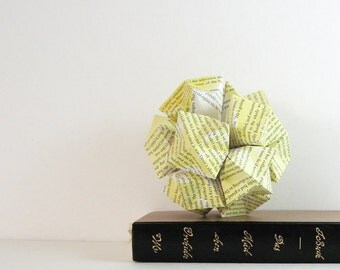 Yellow Paper Sculpture - Origami Kusudama Ball - Geometric Art - Modern Home Decor - Paper Ornament - Recycled Book Paper Art - Yellow Decor