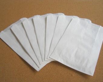 White Mini Paper Bags, Kraft Gift Bag 50pcs Craft bag white paper bag - 3 3/4  x  6  party favors, trick or treat, Candy Bag, bakery bag