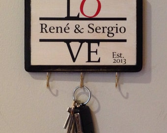 Personalized Love Wall Key holder with Couple's name and Wedding Date Love Sign Great for Wedding Gift Engagement Gift Anniversary Gift