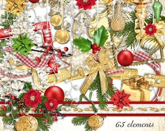 Golden Christmas Element Set - Digital Scrapbooking