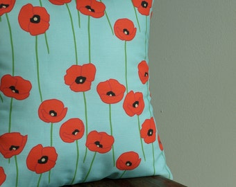 Red Poppies on Teal Printed Pillow Cover in Linen Cotton 16x16