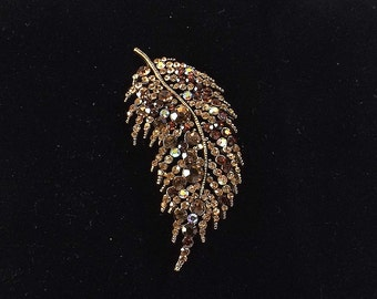 Rhinestone Encrusted Leaf Brooch