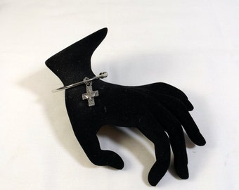 Silver Plated Cuff Bracelet with Cross and Dove