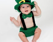 Leprechaun Set - Top Hat Set OR  Dr. Seuss Inspired Set with Hat-Bow Tie-Suspenders-and Diaper Cover - Made To Order