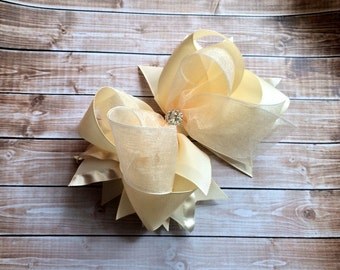 Ivory Hair Bow, Ivory Headband, Girls Hair Bow, Children's Hair Accessory, Rhinestone, Wedding, Flower girl, Hair Clip, Accessory,