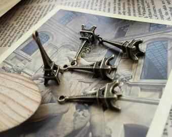 20PCS antique bronze 8x23mm Eiffel Tower charm pendant- WC114