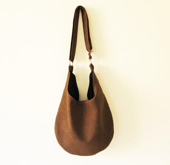 Boho bag, Hobo, Dark Chocolate brown color, Cross body, Vegan Suede