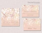 Printable Gold and Blush Bokeh Wedding Invitation